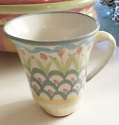 MACKENZIE CHILDS MUG HAND CRAFTED MAJOLICA KING FERRY PATTERN 4 1/2""