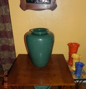 Vintage Garden City Pottery Forest Green Oil Jar, Floor Vase, Porch, Garden Pot