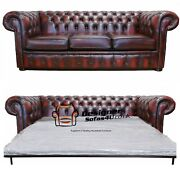 Chesterfield 3 Seater Sofa Bed Antique Genuine 100 Leather Handmade Sofa
