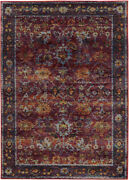 Red Petals Vines Rings Leaves Transitional Area Rug Bordered 7153a