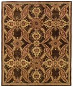 Brown Transitional Hand Knotted Circles Leaves Flowers Area Rug Floral 19112