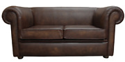 Handmade Chesterfield 1930and039s 2 Seater Settee Antique Genuine Leather Sofa