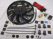 9 Curved S-blade Electric Radiator Cooling Fan + Thermostat Relay Install Kit