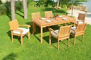Grade-a Teak Wood Napa 7pc Dining 71 Rectangle Table 6 Stacking Arm Chair Set