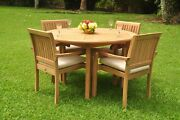 Grade-a Teak Wood Sack 5pc Dining 52 Round Table 4 Arm Chair Set Outdoor Patio