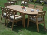 A-grade Teak Wood Vellore 7pc Dining 94 Oval Table 6 Stacking Arm Chair Set
