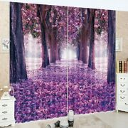 3d Purple Scene Cherry Blossoms Printing Window Curtains Blockout Drapes Fabric