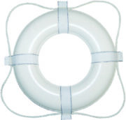 Taylor Made Boat Vinyl Coated Foam Life Ring 20 White With White Rope 360