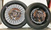 21 Front And 16/150 Avon Tires + King Spoked Black Wheels - Mounted And Balanced