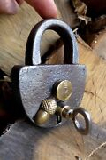Antique Padlock With One Key Working Order Collector Brass No.4 Not For Sale Now