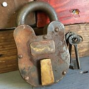 San Quentin Death Row 3 X 5 Cast Iron Working Lock And Keys Rusty Antique Finish