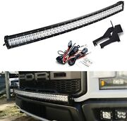 40 240w Curved Led Light Bar W/ Above Bumper Mounts Wiring For 17+ Ford Raptor