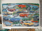 Corvette Early To Mid-year Cars Original Watercolor Painting
