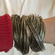 2 Multi Bangle Metal Bracelets In Beautiful Rich Finishes. Never Worn.