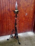 Antique Veritas Copper Oil Lamp On Adjustable Stand Home Farm Cottage Collector