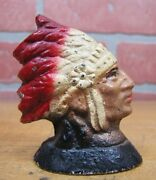 Antique Native American Indian Chief Cast Iron Pencil Holder Paperweight