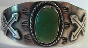 Vintage Navajo Indian Sterling Snakes And Arrows Green Turquoise Cuff Bracelet