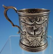 Coin Silver Baby Cup With Repoussed Fruit And Scrollwork 2168