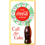 Coca-cola Rotary Phone Call For Coke Wall Decal Vintage Style Decor