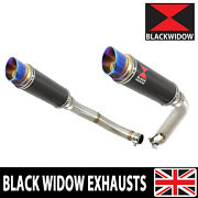 Cbf 1000 2006-2011 Twin Exhaust Silencers 230mm Gp Round Blue Tip Carbon Cl23r