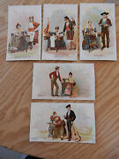 Singer Sewing Machine Trade Cards Spain 5 Cards Lot Beautiful Lithographs