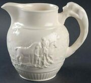 Wedgwood England Devonshire Pitcher 42 Oz Off White Embossed Horses And Dogs