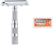 Merkur Travel Safety Razor With Bar And Leather Pouch 210 + 10 Blades