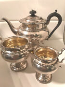 Antique Martin Hall And Co English Sterling Silver 3 Pieces Tea Set