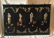 4 Chinese Mother Of Pearl/wood Carved Horns Black Lacquer Wall Hanging Panels