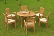 7pc Grade-a Teak Dining Set 48 Round Table 6 Mas Stacking Arm Chair Outdoor