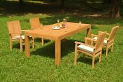 5pc Grade-a Teak Dining Set 86 Canberra Rectangle Table Wave Stacking Arm Chair