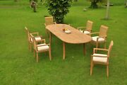 7pc Grade-a Teak Dining Set 118 Oval Table 6 Mas Stacking Arm Chair Outdoor