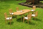 7pc Grade-a Teak Dining Set 94 Oval Table 6 Mas Stacking Arm Chair Outdoor