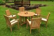 7pc Grade-a Teak Dining Set 48 Round Butterfly Table 6 Wave Stacking Arm Chair