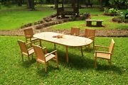 7pc Grade-a Teak Dining Set 118 Oval Table 6 Wave Stacking Arm Chair Outdoor