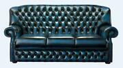 Chesterfield Monks 3 Seater High Back Sofa Antique Blue Leather