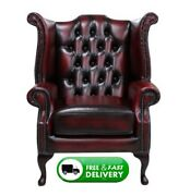 Chesterfield Queen Anne Wingback Armchair Chair Antique Oxblood Red Leather