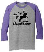 Mens Donand039t Quit Your Daydream Unicorn Graphic Tee 3/4 Triblend