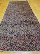 Primitive Antique 1930-1940s Wool Pile Rose Color Runner Rug 2and0397 X 7and0396