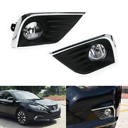 Complete Clear Lens Fog Light Kit W/bezel Covers Wirings For 16-18 Nissan Altima
