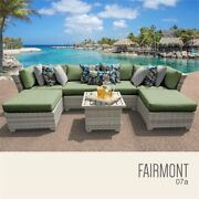 Tk Classics Fairmont 7 Piece Patio Wicker Sectional Set 07a In Green