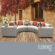 Tk Classics Florence 4 Piece Patio Wicker Sectional Set 04c In White