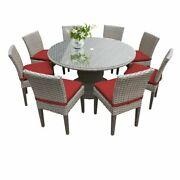 Tkc Oasis 9 Piece 60 Round Glass Top Patio Dining Set In Terracotta