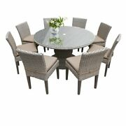 Tkc Oasis 9 Piece 60 Round Glass Top Patio Dining Set In Wheat
