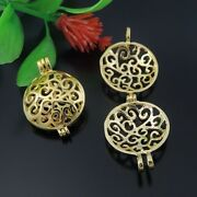6x Vintage Gold Round Shaped Pendant Lockets Hollow Jewelry Mexican Bola Bell
