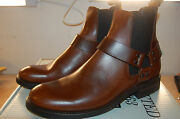 Frye Menand039s Stone Harness Chelsea Motorcycle Boot Leather Nib 9.5 M Whiskey 360
