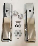 Small Block Chevy 305 350 Short Ball Milled Chrome Valve Covers Sbc Breather Pcv