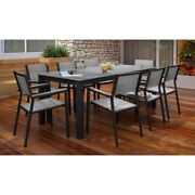 Modway Maine 9 Piece Outdoor Dining Set In Brown And Gray