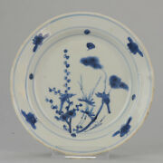 Antique Chinese 17th C Porcelain Ming/transitional Plate China Flowers Wanli ...