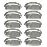 10pcs Cup Pulls Cabinet Hardware Brushed Satin Nickel Shell Pull Drawer Handles